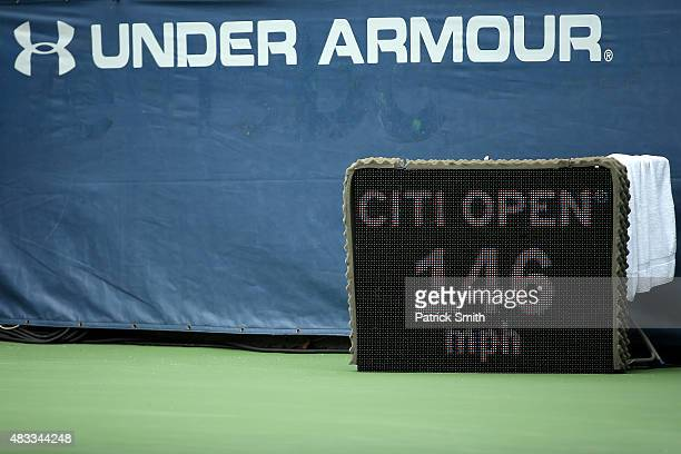 A detail view of the shot speed display reads 146mph on a serve by Sam Groth of Australia during a match against Kei Nishikori of Japan at the Citi...