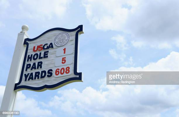 A detail view of the sign for the first hole during a practice round prior to the 2017 US Open at Erin Hills on June 14 2017 in Hartford Wisconsin