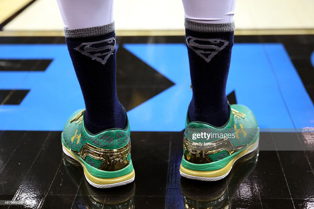 A detail view of the sneakers worn by Jerian Grant of the Notre Dame Fighting Irish are seen in the second half against the Wichita State Shockers...