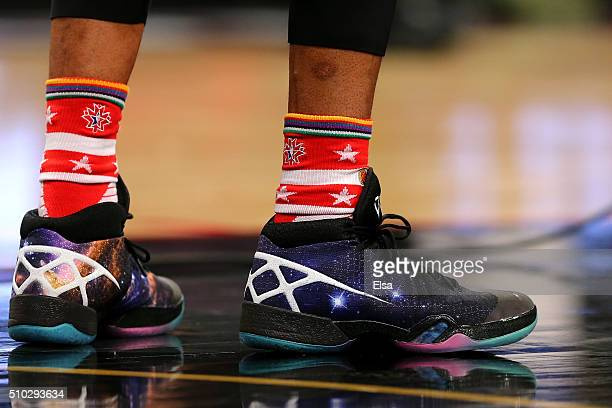A detail view of the sneakers worn by Russell Westbrook of the Oklahoma City Thunder and the Western Conference in the first half against the Eastern...