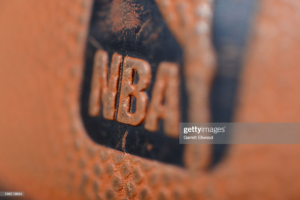 A detail view of the Spalding ball with NBA logo is seen during the game between the Orlando Magic and the Denver Nuggets on January 9 2013 at the...