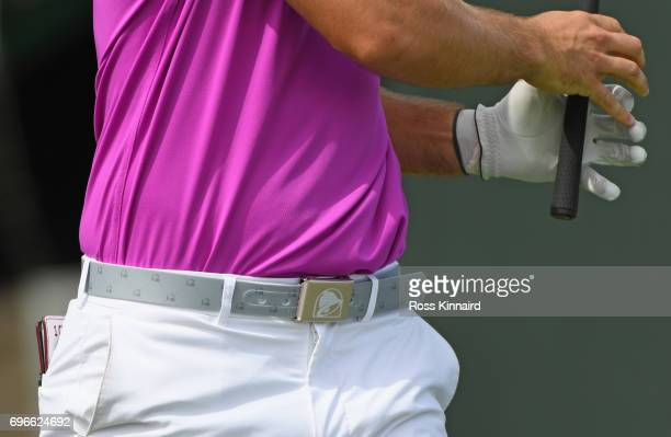 A detail view of the Taco Bell belt worn by Wesley Bryan of the United States during the second round of the 2017 US Open at Erin Hills on June 16...