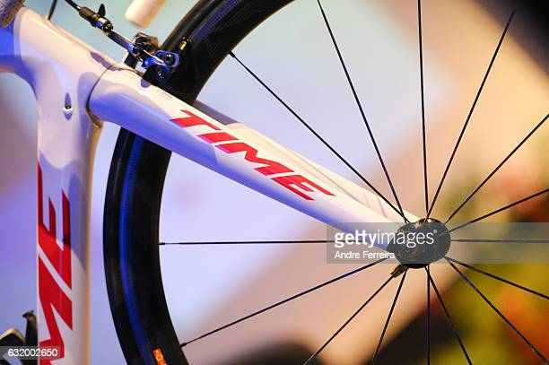Detail view of the Time bicycle during the Presentation of the Cycling Team Auber 93 on January 18 2017 in Aubervilliers France
