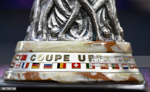 A detail view of the UEFA Europa League trophy ahead of the UEFA Europa League Final between Ajax and Manchester United at Friends Arena on May 23...