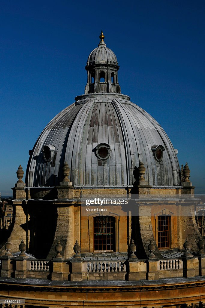 Detail view of the upper half of The Radcliffe Camera Radcliffe Square Oxford Affectionately named 'the city of dreaming spires' by nineteenth...