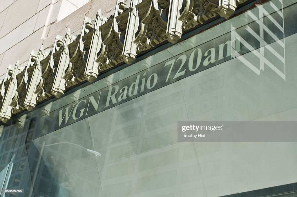 A detail view of the WGN Radio window on March, 13 2013 in Chicago, IL.