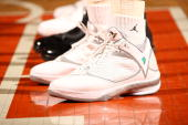 A detail view of the white and grey color way of the Air Jordan 2009 shoe during game between the White team and the Black team during the 2009...