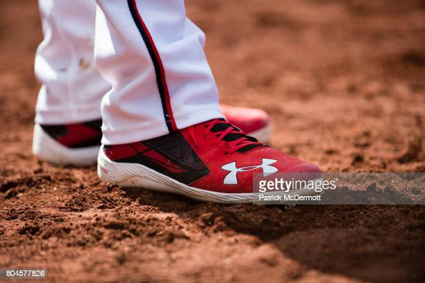 A detail view of Trea Turner of the Washington Nationals Under Armour cleats in the seventh inning of a baseball game against the Cincinnati Reds at...