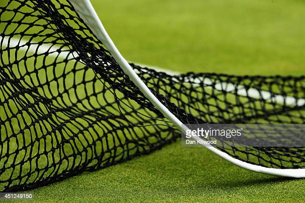 Detail view on one of the courts on day four of the Wimbledon Lawn Tennis Championships at the All England Lawn Tennis and Croquet Club at Wimbledon...