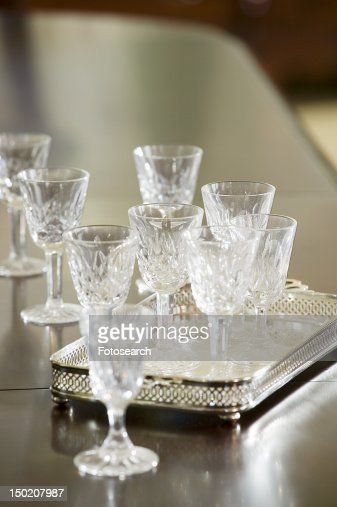 Detail wine glasses and serving tray
