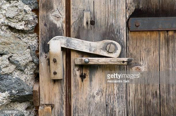 Detail, wooden door of an alpine cabin on the Stieralm (Stier alpine pasture), Aschau, North Tirol, Austria, Europe