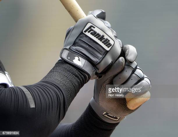 A detailed close up view of a Franklin batting glove as worn by Avisail Garcia of the Chicago White Sox during the game against the Kansas City...