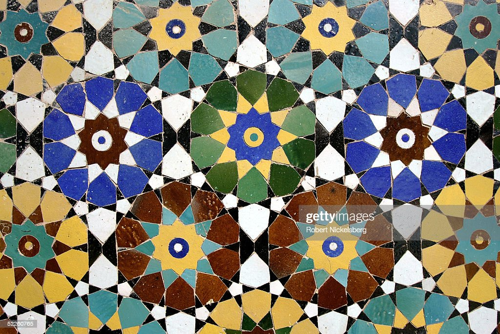 A detailed example of the intricate Persian tile work done on the front of the 12th century Blue Mosque on February 17 2005 in Herat Afghanistan...