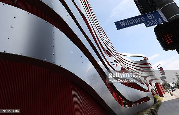 A detailed exterior view of the Petersen Automotive Museum structure is seen on May 11 2016 in the Miracle Mile District of Los Angeles California