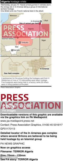 Detailed locator of the In Amenas gas complex where several Britons are believed to be being held hostage by an Islamist group