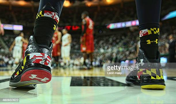 A detailed look at the Under Armour basketball shoe worn by the Maryland Terrapins during the game against the Michigan State Spartans at Breslin...