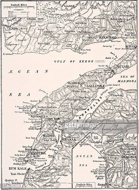 Detailed map of Gallipoli Peninsula and the Dardanelles Turkey in 1915 showing British and Allied landing beaches From The War Illustrated Album...