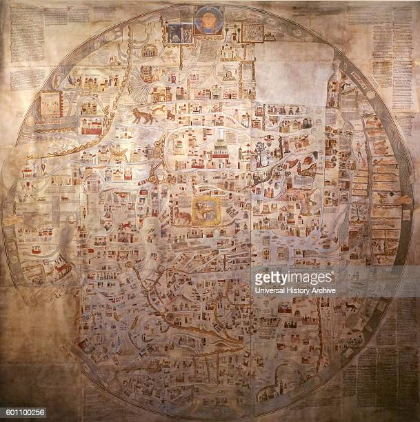 A detailed medieval map of the world as it was known Dated 14th Century