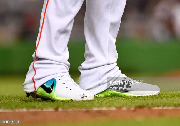 Detailed Nike shoe of Miguel Rojas of the Miami Marlins in action during the game between the Miami Marlins and the Washington Nationals at Marlins...