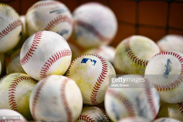 Detailed photo of baseballs before the Miami Marlins top three draft picks Trevor Rogers Brian Miller and Joe Dunand visit Marlins Park for a press...