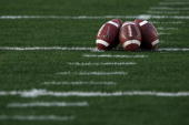 A detailed picture of footballs on the field prior to the Citi BCS National Championship game between the Texas Longhorns and the Alabama Crimson...