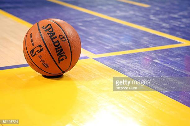 A detailed picture of the Spalding basketball during a break in the game between the Los Angeles Lakers and the Houston Rockets in Game Five of the...