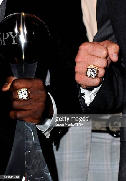 A detailed picture of the Super Bowl rings on the fingers of New Orleans Saints players in press room during the 2010 ESPY Awards at Nokia Theatre LA...