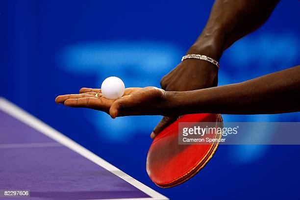 A detailed shot of a table tennis player at the Peking University Gymnasium during the table tennis event at Day 6 of the Beijing 2008 Olympic Games...
