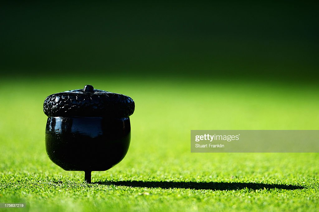 A detailed shot of an acorn tee marker is seen during a practice round prior to the start of the 95th PGA Championship at Oak Hill Country Club on August 5, 2013 in Rochester, New York.