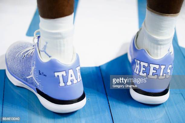 A detailed shot of shoes worn by a North Carolina Tar Heels player are seen in the first half against the Texas Southern Tigers during the first...