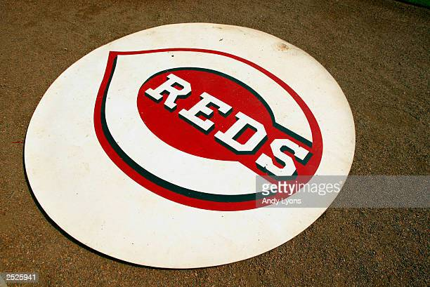 Detailed shot of the Cincinnati Reds logo during the game against the Pittsburgh Pirates at Great American Ball Park on September 11 2003 in...