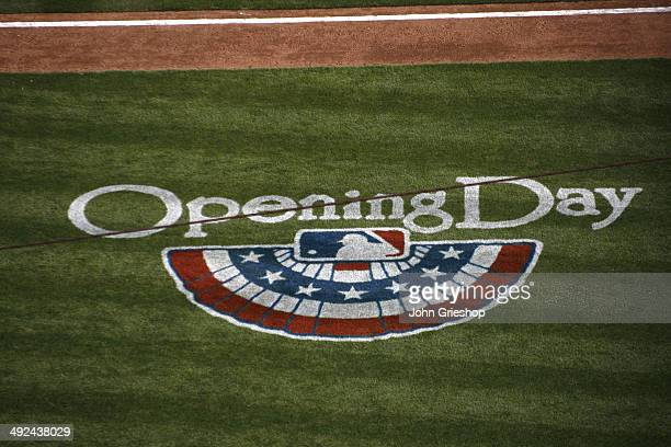 A detailed shot of the Opening Day logo that is painted on the field during the game between the Cincinnati Reds and the St Louis Cardinals at Great...