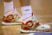 A detailed shot of the Reebok shoes worn by Yao Ming of China during the men's preliminary round basketball game against Spain at the Beijing Olympic...