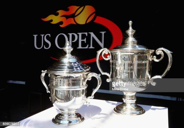 A detailed shot of the US Open women's singles trophy and men's singles trophy is seen during the Draw Ceremony prior to the start of the 2017 US...