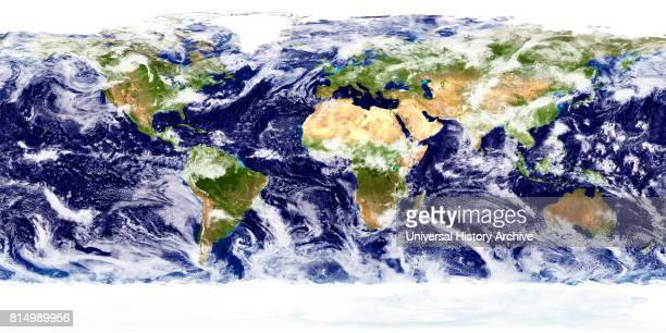 Detailed truecolour image of the entire Earth showing cloud cover over two days Using a collection of satellitebased observations scientists and...