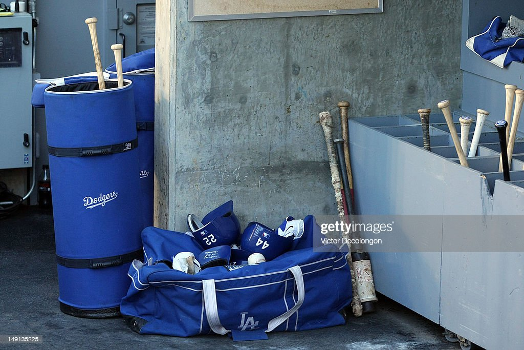 A detailed veiw of and equipment bag and bats prior to the MLB game between the Philadelphia Phillies and the Los Angeles Dodgers at Dodger Stadium on July 17, 2012 in Los Angeles, California. The Phillies defeated the Dodgers 3-2.