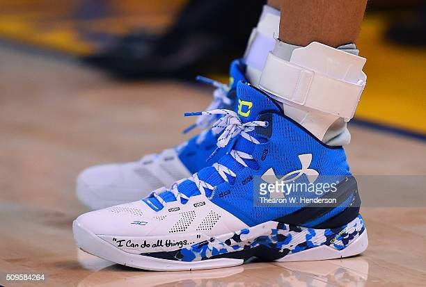A detailed veiw of the Under Armour basketball shoes worn by Stephen Curry of the Golden State Warriors against the Oklahoma City Thunder during an...