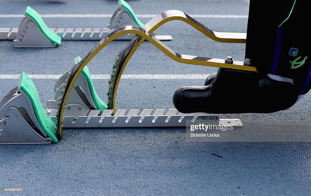 A detailed view ahead of preliminaries for the 2016 U.S. Paralympics Trials in Track and Field at Irwin Belk Complex at Johnson C. Smith University on July 1, 2016 in Charlotte, North Carolina.