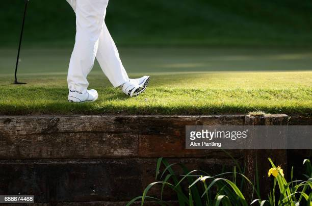 A detailed view as Henrik Stenson stands on the edge of the 18th green during day one of the BMW PGA Championship at Wentworth on May 25 2017 in...
