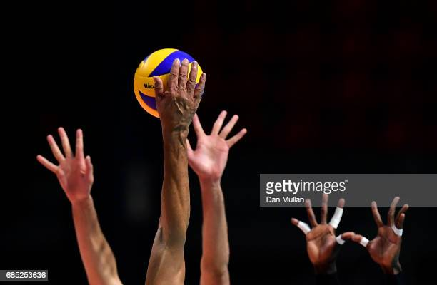 A detailed view as Mohamed Al Hachdadi of Morocco spikes the ball in the Mens Volleyball Group B match between Qatar and Morocco during day eight of...