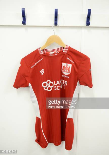 Detailed view as shirts hang in the dressing room of Bristol City Women during the SSE FA Women's Cup Sixth Round match between Bristol City Women...