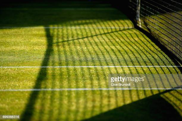 A detailed view as the sun sets on a grass court during day three of the 2017 Aegon Championships at Queens Club on June 21 2017 in London England