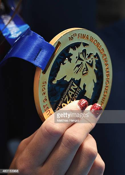A detailed view gold medalist Katie Ledecky of the United States posing during the medal ceremony for the Women's 4x200m Freestyle Relay final on day...