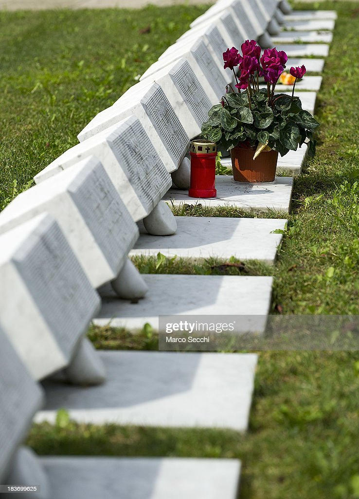 A detailed view inside the Cemetery of the Vajont on the 50th anniversary on October 9, 2013 in Longarone, Italy. The Vajont disaster occurred on October 9, 1963 and claimed 2000 lives, making it the worst landslide in European history.