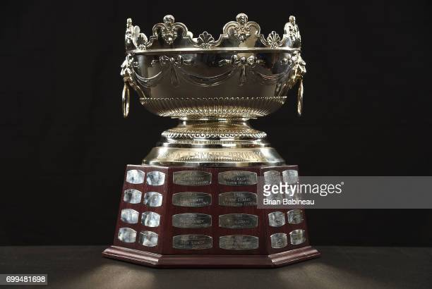A detailed view is seen of the Frank J Selke Trophy at the 2017 NHL Awards at TMobile Arena on June 21 2017 in Las Vegas Nevada