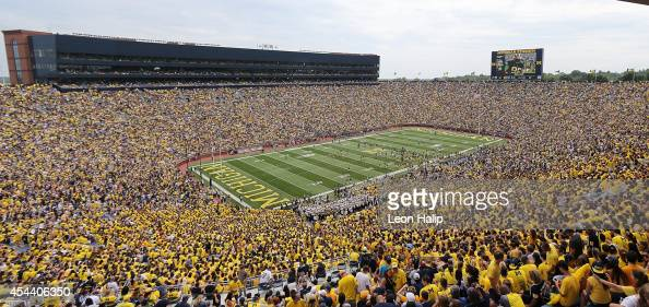 A detailed view Michigan Stadium during the half time performance during the game between the Appalachian State Mountaineers and the Michigan...
