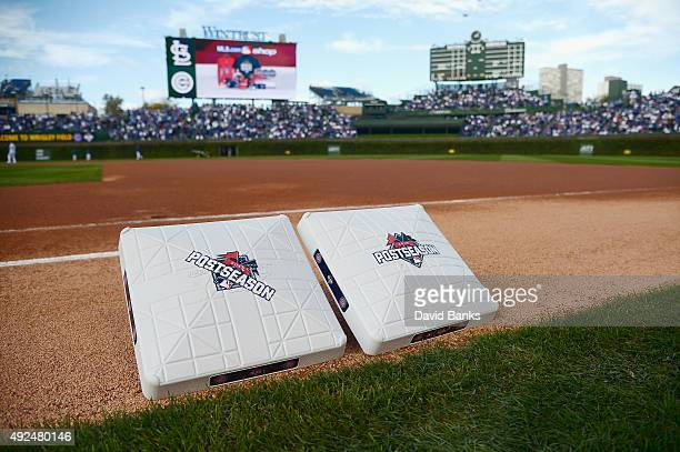A detailed view of 2015 Postseason bases prior to game four of the National League Division Series between the Chicago Cubs and the St Louis...