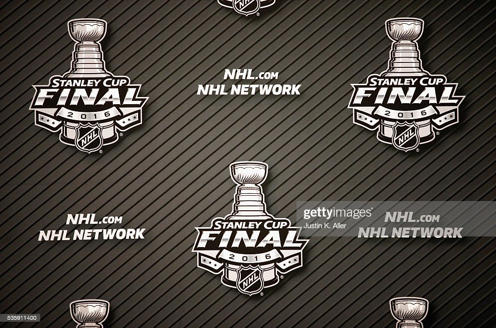 A detailed view of 2016 NHL Stanley Cup Final logos on a backdrop prior to Game One between the Pittsburgh Penguins and the San Jose Sharks at Consol Energy Center on May 30, 2016 in Pittsburgh, Pennsylvania.