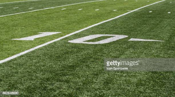 A detailed view of a 10 yard line numbering before a game between the Ohio Bobcats and the Bowling Green Falcons on October 14th 2017 at Doyt Perry...