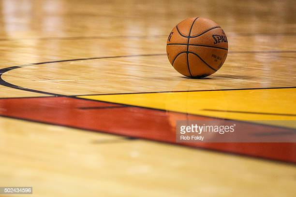 A detailed view of a ball sitting on the court during the game between the Miami Heat and the New York Knicks at American Airlines Arena on November...